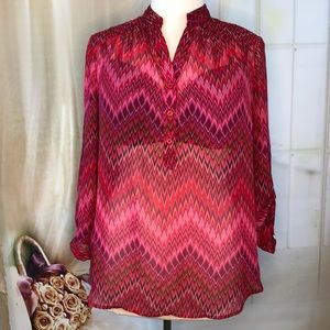 Roz & Ali Red Sheer Blouse